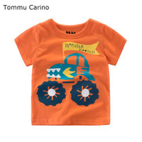 Tommu Carino Kids Summer Infant Boys Short Sleeve T-shirt Baby Cartoon Printed Car Orange Tees Child Fashion Outfits 2 4 6 8 10