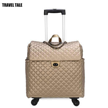 TRAVEL TALE 2019 new vintage leather suitcase spinner retro cabin travel luggage bag for women