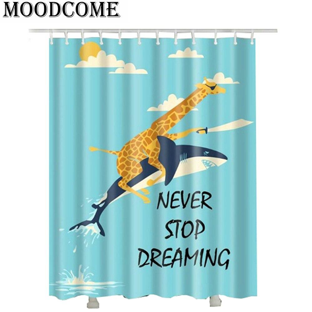 cat ride unicorn waterproof shower curtain polyester new design ...