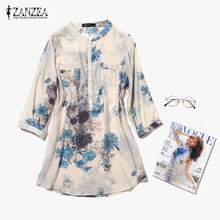 ZANZEA 2017 Women Blouses Casual Vintage Floral Printed Long Tops Fashion V Neck Button Linen Shirts