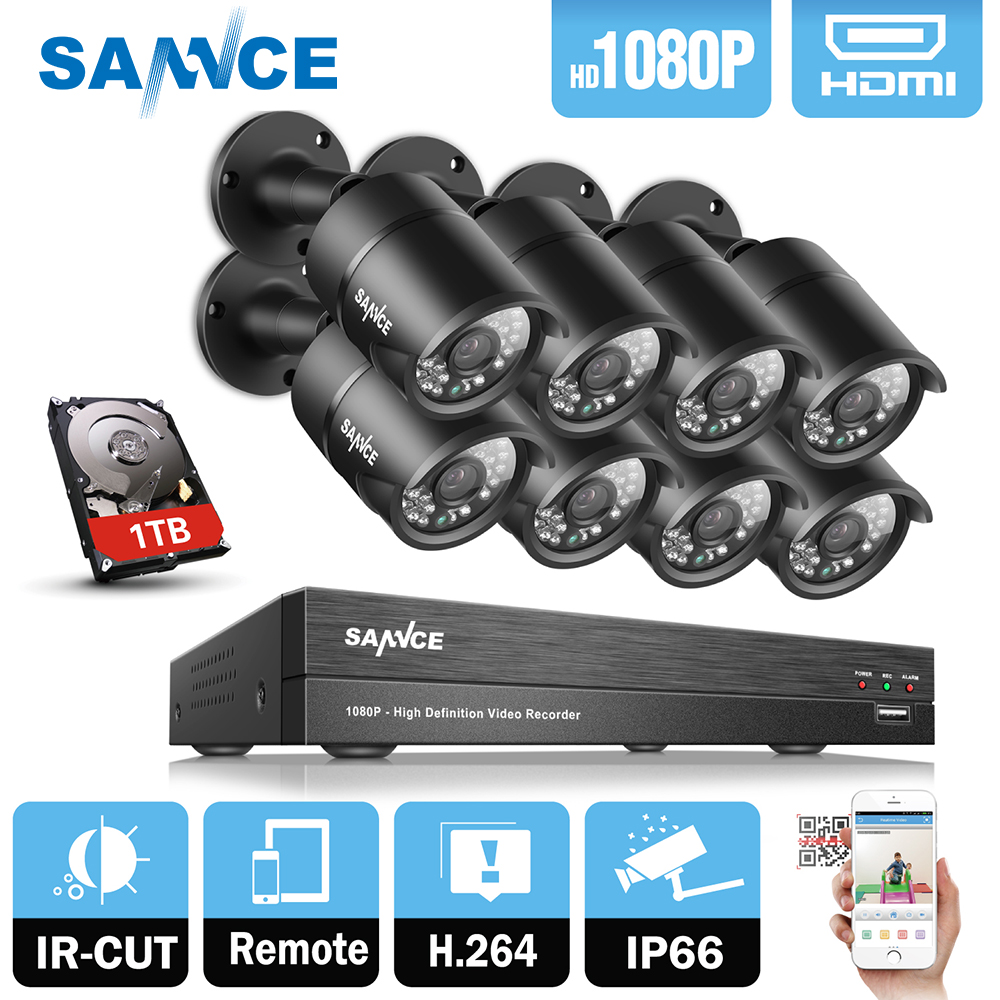 SANNCE 8CH 1080P HD DVR CCTV System 8pcs 1080P 2.0MP CCTV Security Camera 3000TVL home Video Surveillance Kit 1TB HDD цена