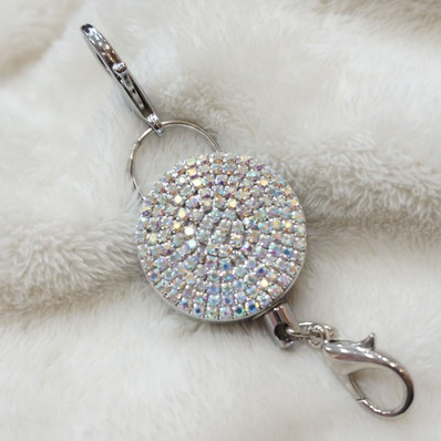 Newest Bling AB Color Crystal Metal Retractable Reel Recoil ID Badge Name Tag Key Card Badge Holder with Clip 1pcs 10pcs lot retractable pull badge reel zinc alloy abs plastic id lanyard name tag card badge holder reels
