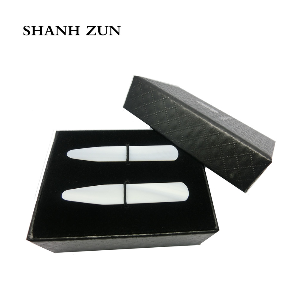 SHANH ZUN Luxurious Handmade Mother Of Pearl Collar Stays Wedding Gift Groomsman 2 Pcs Set