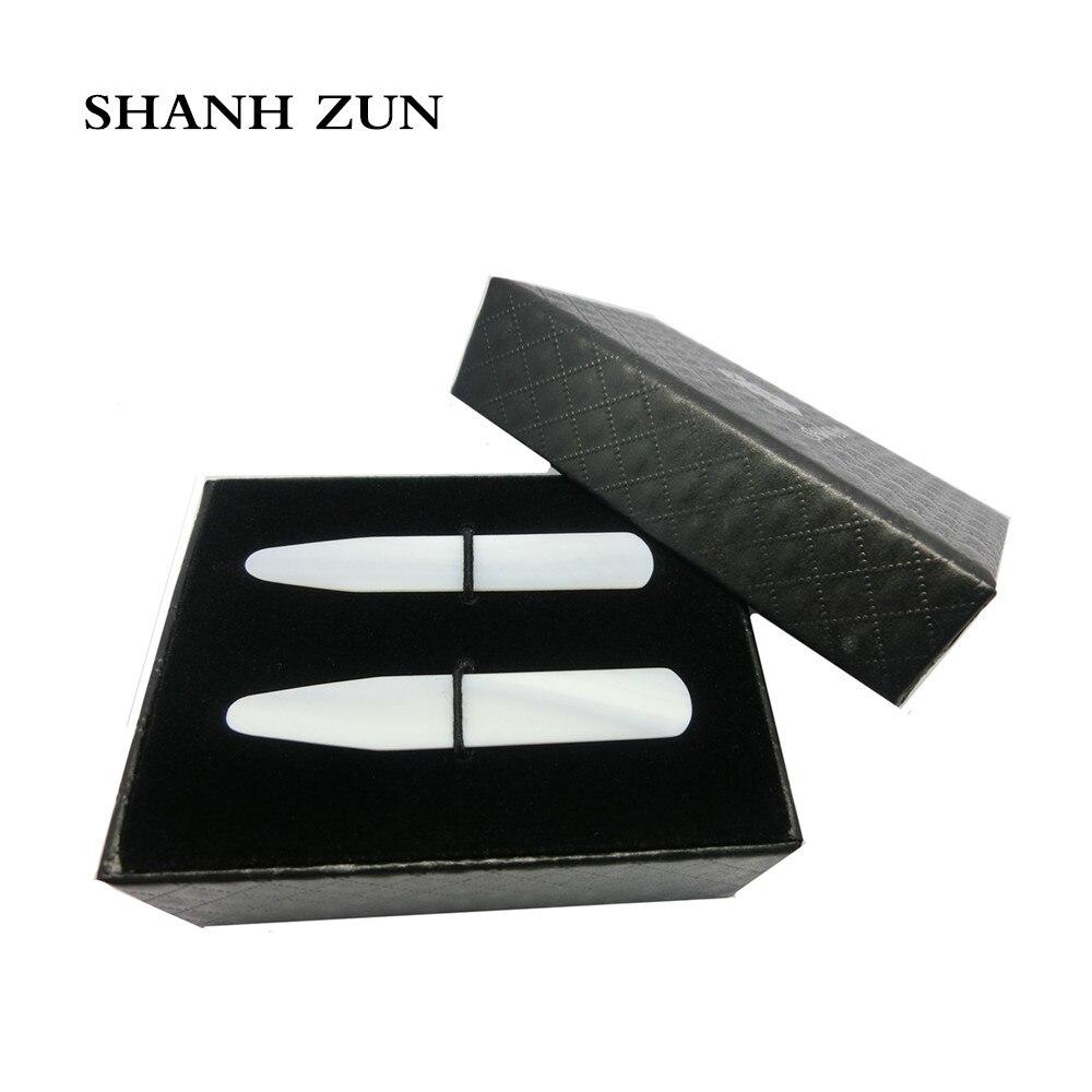 SHANH ZUN Luxurious Handmade Mother Of Pearl Collar Stays Wedding Gift Groomsman 2 Pcs Set