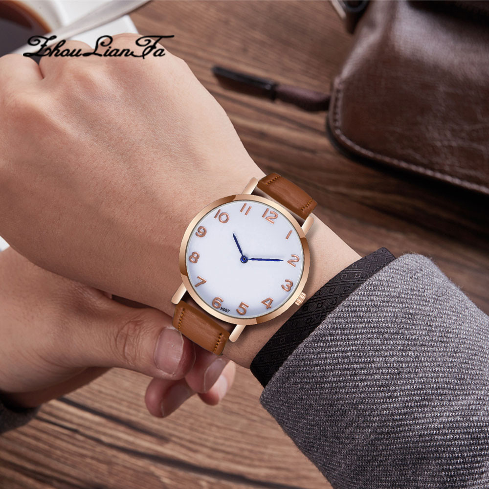 lover's watch men new simple top brand fashion watches Fashion Man Crystal  Leather Analog Quartz Wrist Watch women men 40y