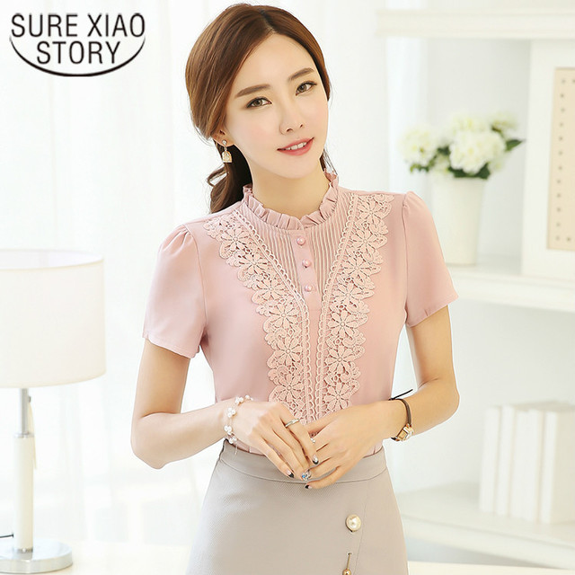 c78317973 2017 Fashion Lace Chiffon Tops Short Sleeve Summer Women Shirt Korean  Hollow Out Ladies Blusas Office Female Clothing 37F 30