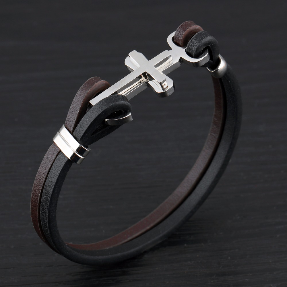 Europe and the United States punk cross leather bracelet Han edition mens leather bracelet accessories wholesale