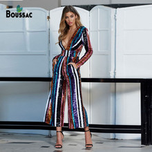 2019 New Bodycon Women Jumpsuit High Quality Luxury Striped Bling Sequined Deep V Neck Celebrity Female Singer Bodysuit Jumpsuit high neck striped knit bodysuit