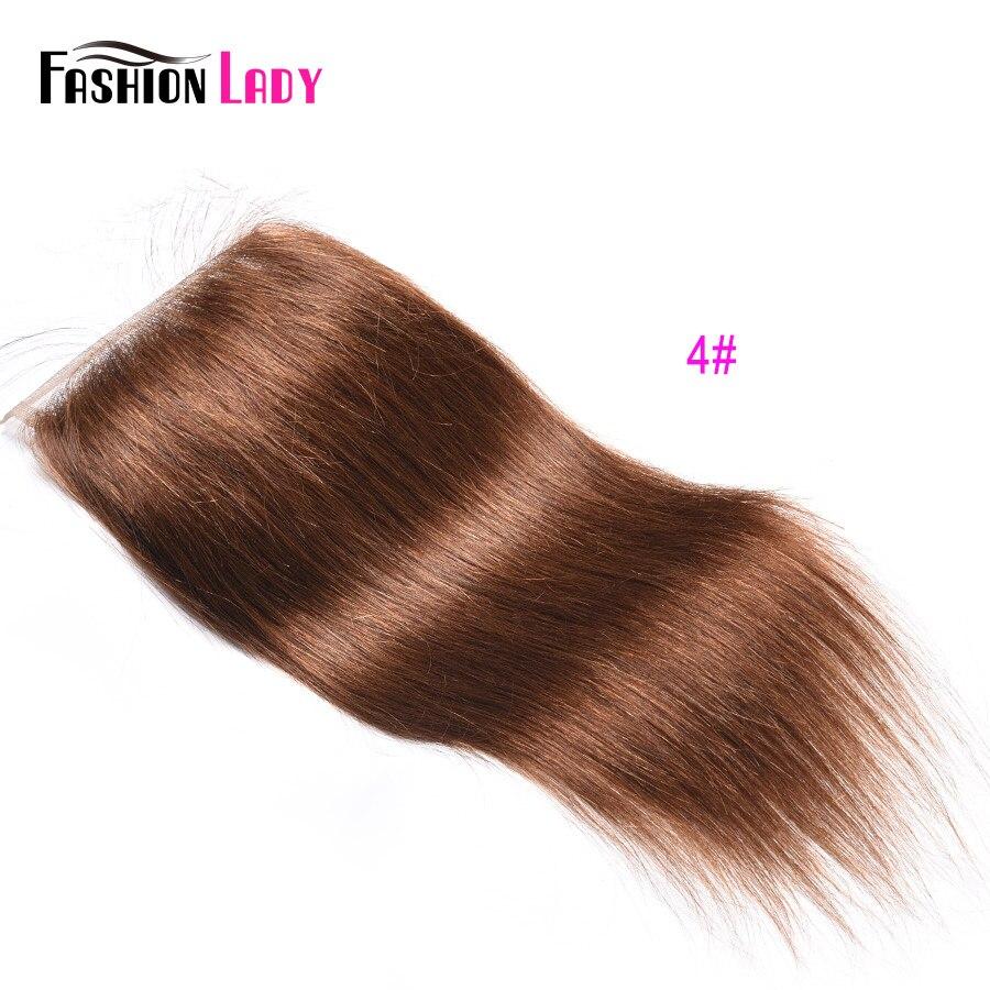 Модные женские Pre-крашеные бразильские волосы синтетическое закрытие волос прямые волосы кружево синтетическое закрытие волос 4x4 дюйма#2 каштановые человеческие волосы - Цвет: #4
