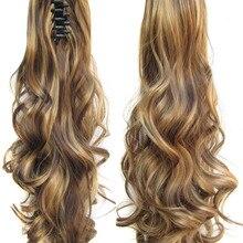 Термостойкие синтетические волнистые локоны для наращивания волос, накладные волосы, коготь, шнурок, конский хвост, 22 дюйма, 28 цветов, 170 г, 1 шт