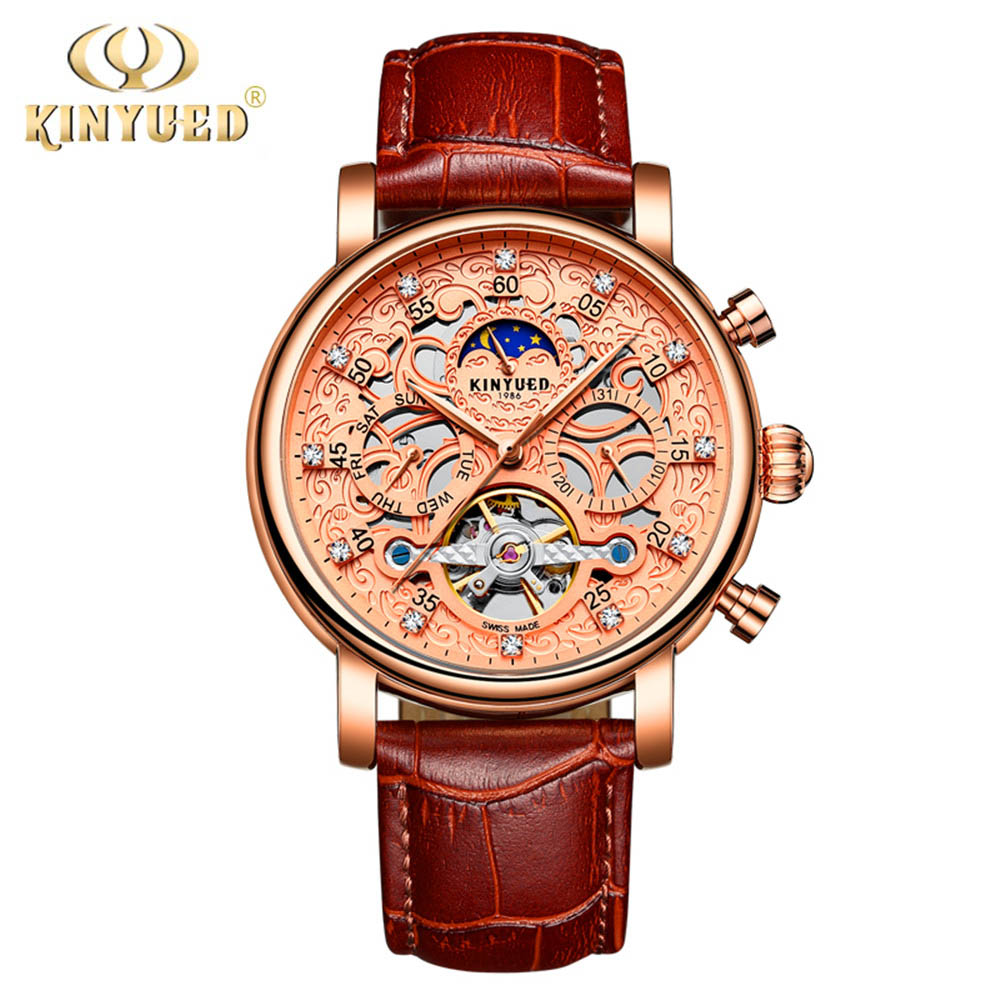 цена на KINYUED Moon Phase Shanghai Movement Rose Gold Case Brown Genuine Leather Strap Mens Watches Top Brand Luxury Auotmatic Watch
