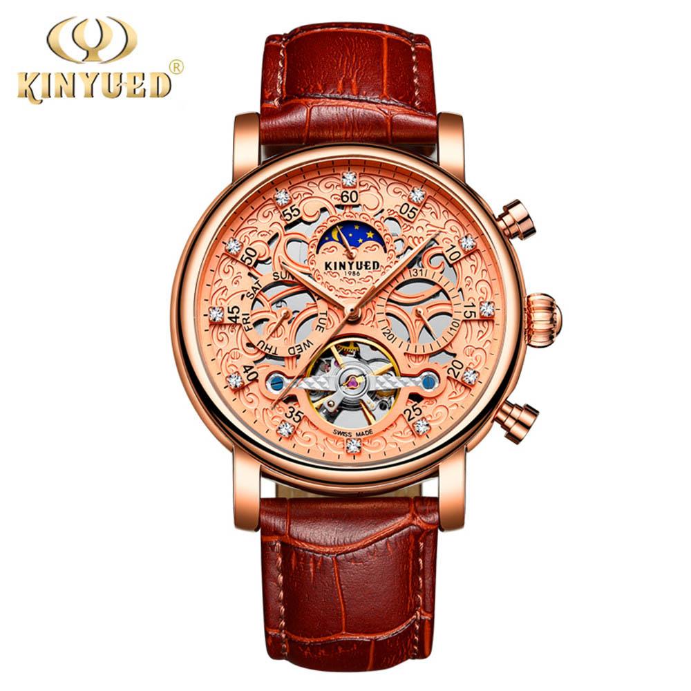 KINYUED Moon Phase Shanghai Movement Rose Gold, коричневые мужские часы с ремешком из натуральной кожи, роскошные часы от ведущего бренда Auotmatic