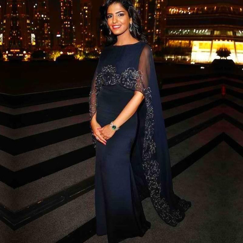 Robes de soirée bleu marine longue robe avec broderie perlée garniture Cape formelle robes de bal arabie saoudite robes de soirée
