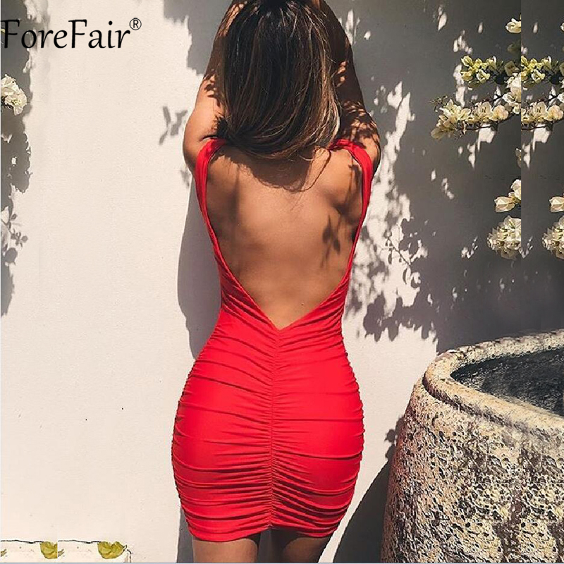 ForeFair Sexy V-Neck Backless Club Party Dresses Women Summer Red White Sleeveless Mini Ruched Bodycon Dress