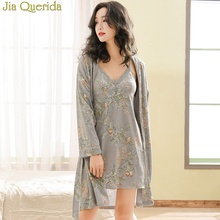 Sexy Nightgown Robe Set Women Lingerie with Robe Grey Floral 100% Pure Cotton V-neck Lace Trim Gowns+Belted Kimono Bathrobe Set scallop trim floral lace lingerie set