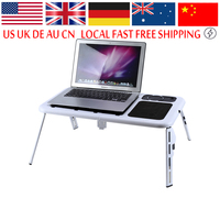 Portable Laptop Lap Desk Foldable Table E Table Bed With USB Cooling Fans Stand TV Tray
