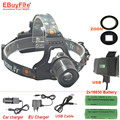 CREE XM-L2 Headlamp zoom LED Headlight L2 2000 Lm usb head light zoomable with DC USB charger + 2x 18650  battery