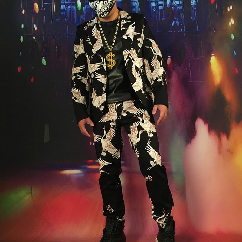 Men 2PCS Suits Sets (jacket+pant) Male Fashion Hip Hop Casual Blazer Suit Jacket Singer Dress Suits Custom Made Stage Costumes