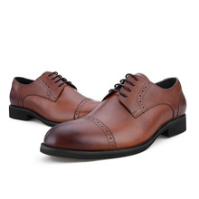 Fashion Italy Dress Shoes For Men Round Toe Genuine Leather Mans Oxford Shoes Footwear Wedding Office