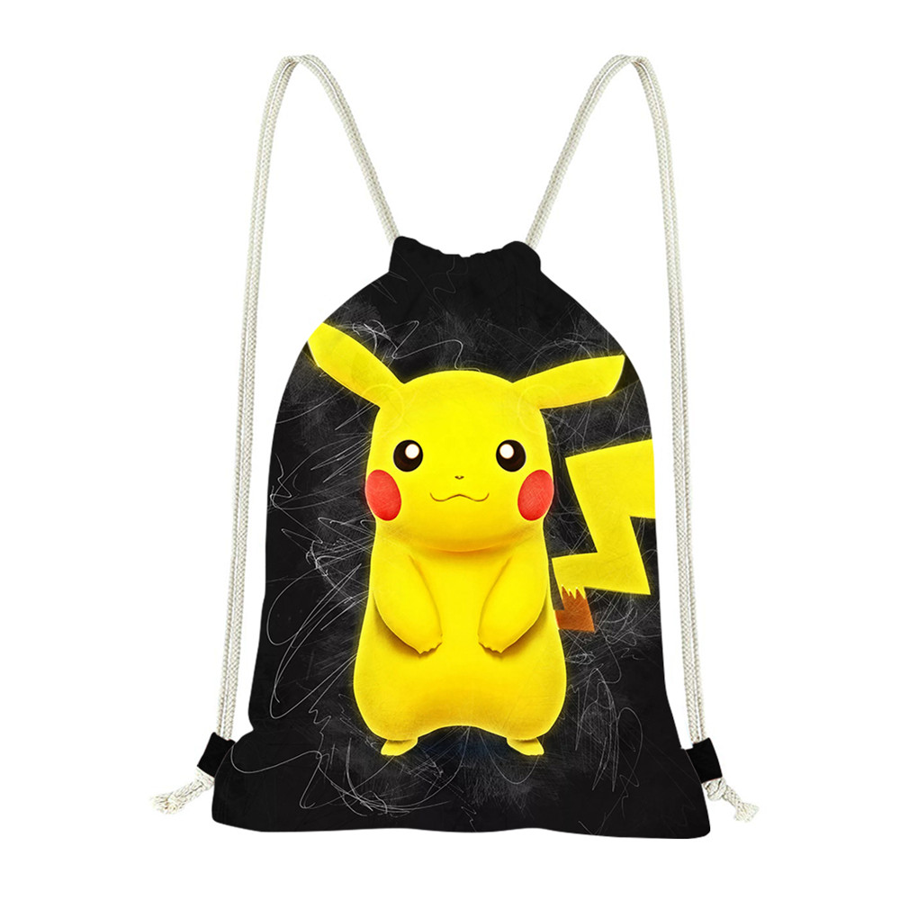 Jackherelook Drawstring Kids Bag Movie Pokemon Detective Pikachu Print Drawstring School Bags Travel Women Bag Mochila Feminina