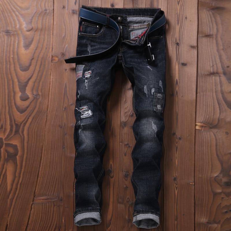 Mince Longueur Pleine Déchiré Vintage Épissage Pantalons Denim Trous D'été Pantalon Hommes Jeans Droite Moto Noir FqEZZw