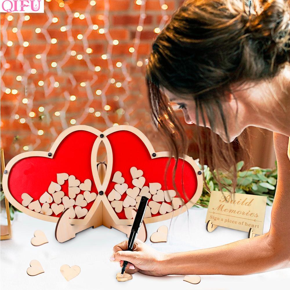 QIFU livre d'or en bois signe amour romantique mariage livre d'or décoration de fête mariage livre d'or de mariage pour les invités