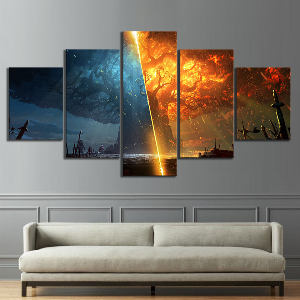 5 Piece Teldrassil Burning World of Warcraft Battle for Azeroth Game Posters Canvas Painting Wall Art for Home Decor 2