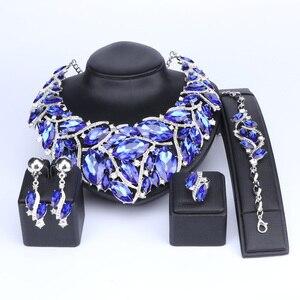 Image 3 - Ouheファッションインディアンジュエリーボヘミアクリスタルネックレスセットブライダルジュエリー花嫁パーティーウェディングアクセサリーデコレーション