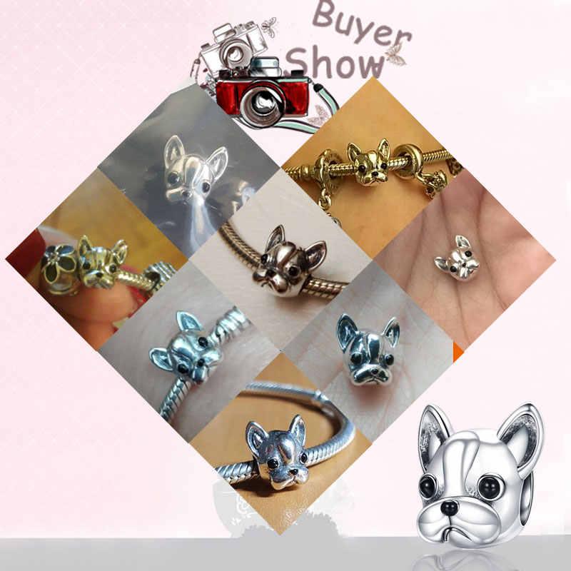 925 เงินสเตอร์ลิงสุนัข Story Poodle Puppy French Bulldog ลูกปัด Charm พอดีกำไลข้อมือ BISAER Charms เงิน 925 สร้อยข้อมือเดิม