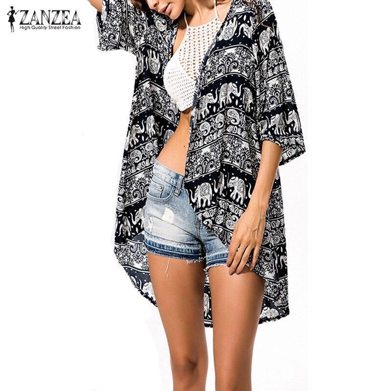 Zanzea 2018 Žene Boho Kimono Vjenčanica Ljeto Bluza Cvjetni Ispis 3/4 rukava Casual Duga Vintage Pleme Blusas Tops Big Size 6XL