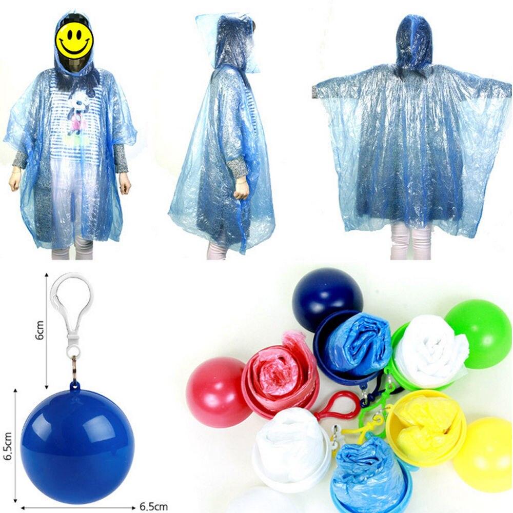 Hooded Travel Emergency Raincoat Poncho Rainwear Rain Jacket W// Keyring Ball