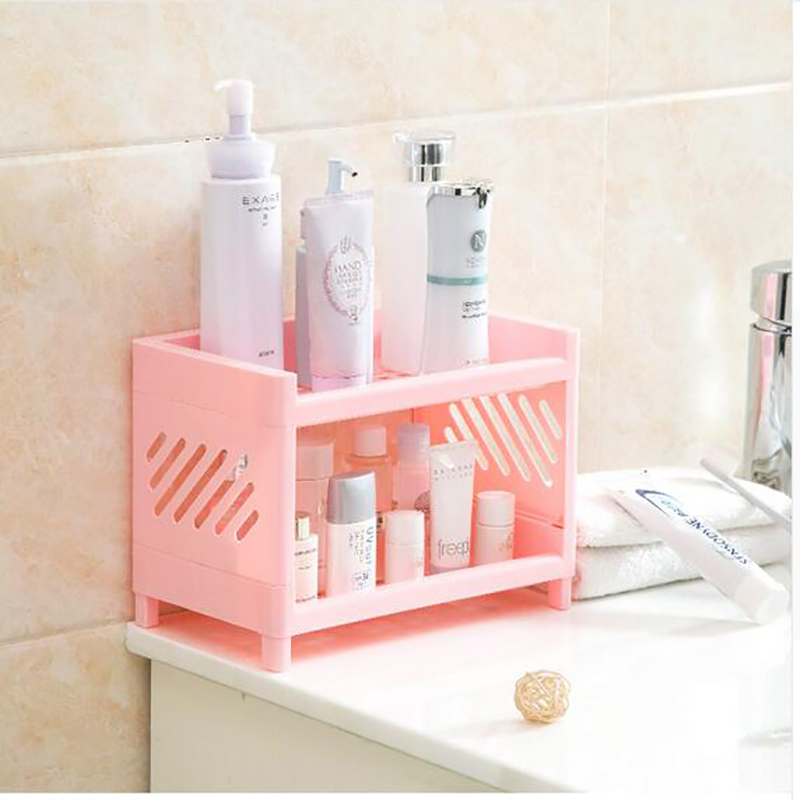Fast Shipping Detachable Double Layers Sundries Plastic Storage Shelf Desktop Bathroom Makeup Shampoo Organizer Rack