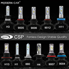 MODERN CAR seoul csp chip headlights 55W 6000lm 9005 9006 h4 h7 headlight bulb Fanless Design mini size led car 12V