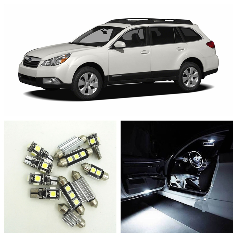 10pcs White Car LED Light Bulbs Interior Package Kit For 2010 2011 2012 Subaru Outback Map Dome Trunk Door License Plate Lamp car rear trunk security shield shade cargo cover for subaru outback 2011 2012 2013 2014 2015 2016 2017 black beige