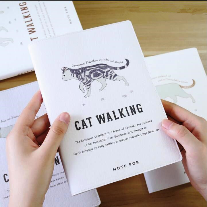 Cat Walking Any Year DIY Weekly Planner Cute Notebook Big Size Study Diary Faux Leather худи print bar walking cat