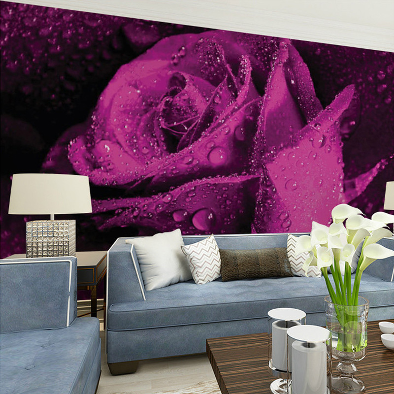 Custom Mural Wallpaper 3D Stereo Non-woven Murals Bedroom Living Room TV Background Purple Rose Flower 3D Photo Wallpaper Rolls