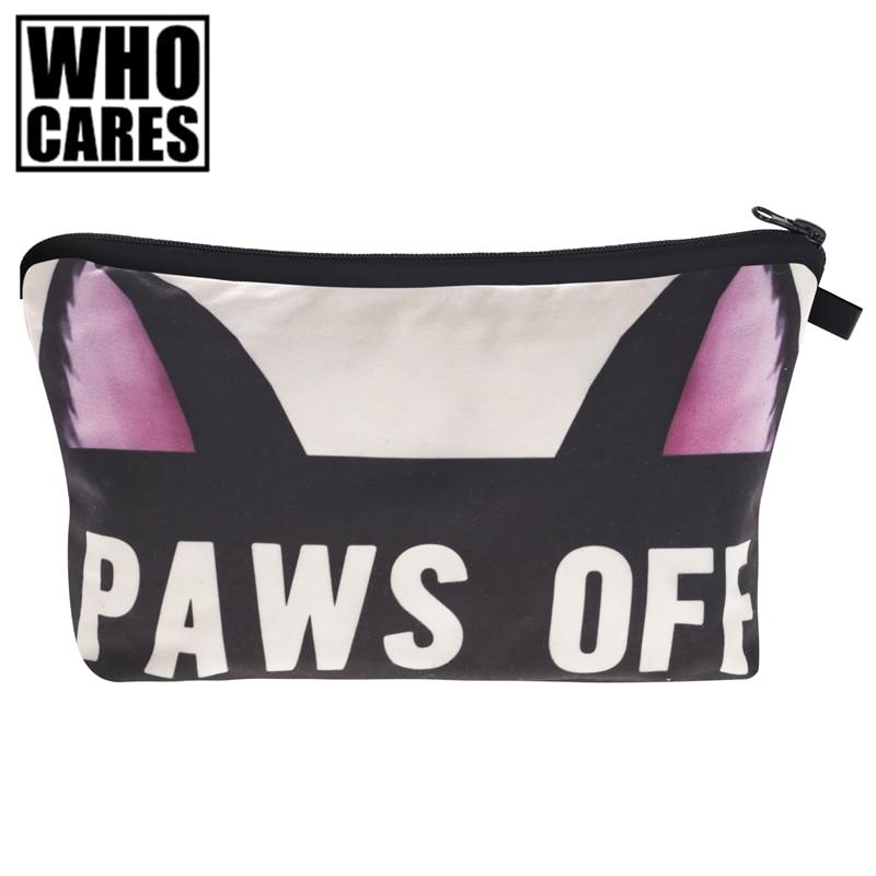 paws off 3D Print Women Cosmetics Bags trousse de toilette 2017 New neceser Organizer Maleta de Maquiagem vanity Makeup Bag