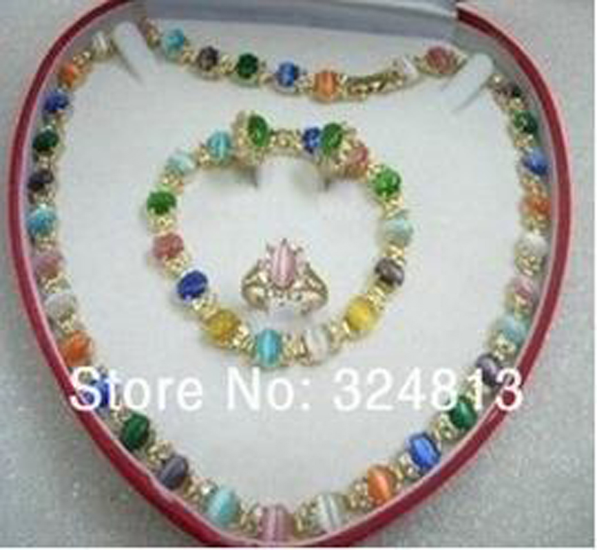 NEW multicolor cat's eye opal necklace bracelet earring ring set AA0154 цена и фото