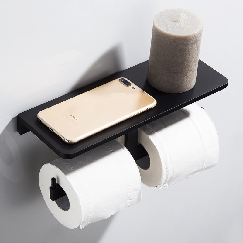 Toilet Tissue Roll Paper Holder Hook with Phone Storage Shelf WALL MOUNT