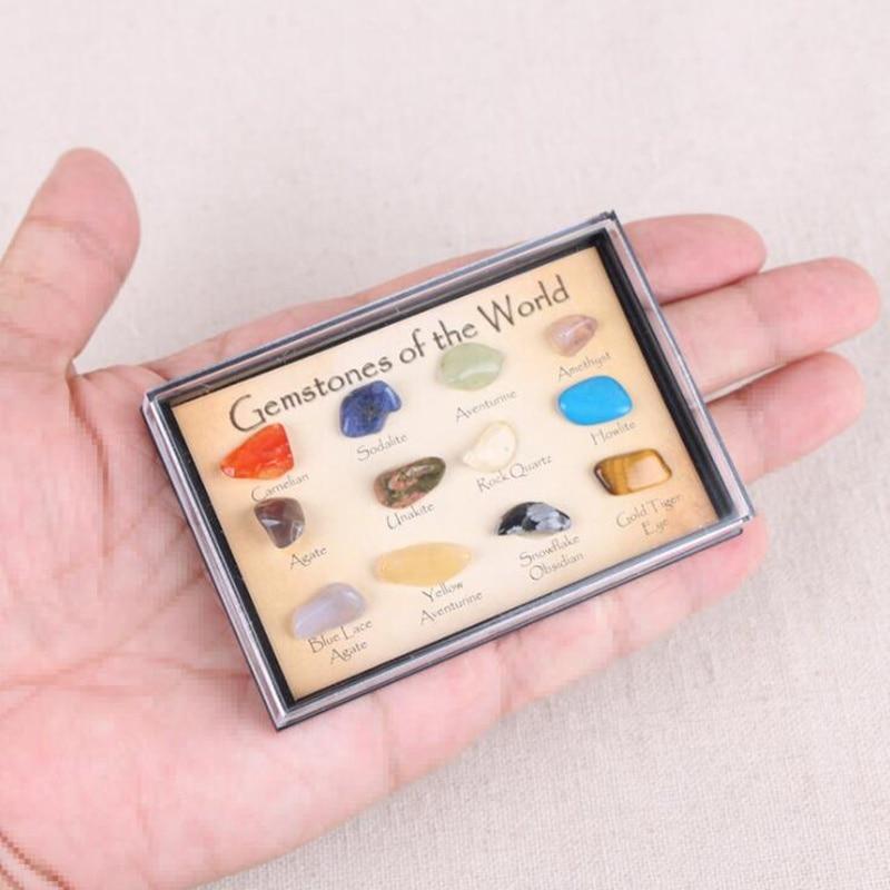 12 шт./компл. из камня и минерального природного кристалла, драгоценный камень, стандартный красный агат, снежинка, обсидиан, образцы талисма...
