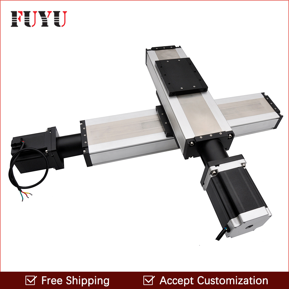 Free shipping factory sale 120mm width 100x100mm ball screw motorized XY table with stepper motor toothed belt drive motorized stepper motor precision guide rail manufacturer guideway