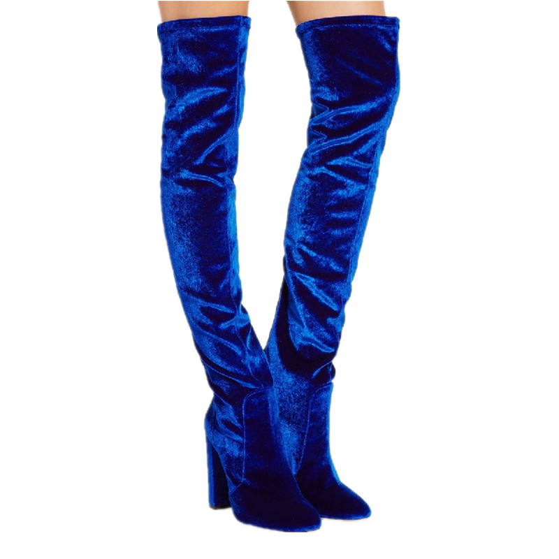 2018 New Arrivals Women Over the Knee Boots Shoes Velvet Winter Warm High Heels Shoes Round Toe Thick Heels Boot Women Size 43