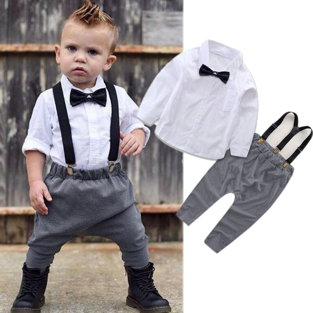 2Pcs Infant Baby Boys Little Gentleman Costume Clothes White Shirt Tops+Overalls Suspender Trouser Outfit Set