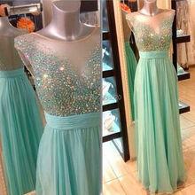 A Line Flügelärmeln Stark Perlen Sparkly Mint Green Prom Kleid Chiffon Lange Formale Abendkleid vestido de festa longo