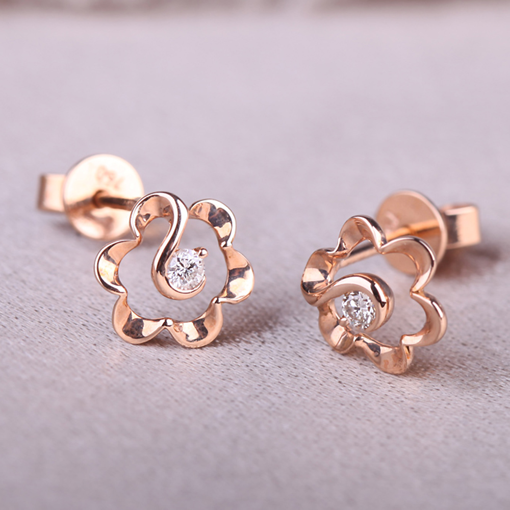 DOUBLE-R 0.05ct Genuine Diamond 18k Rose Gold Earrings Real Pure Solid 18k Gold Diamond Stud Earrings For Girls 18k rose gold plated rhinestone awesome swan stud earrings golden pair