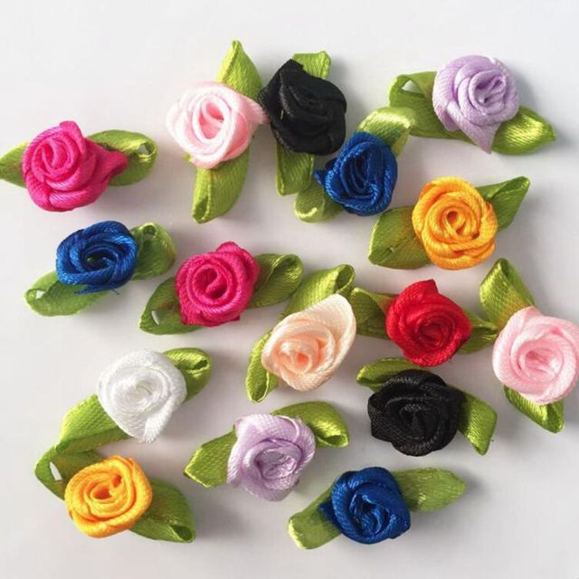 100pcs Handmade Mini Satin Flowers For Garment Accessories Artificial Ribbon Rose flower DIY Wedding Scrapbook Cards Ornament