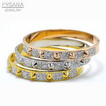 FYSARA Fashion Love Jewelry Spike Pyramid Bracelet & Bangle For Women Manchette Stainless Steel Gold-Color CZ Crystal Bangles