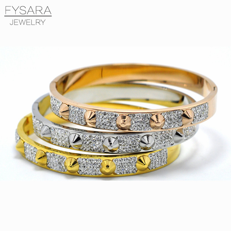 FYSARA Fashion Lover Jewelry Spike Pyramid Bracelet & Bangle For Women Manchette Stainless Steel Gold-Color CZ Crystal Bangles