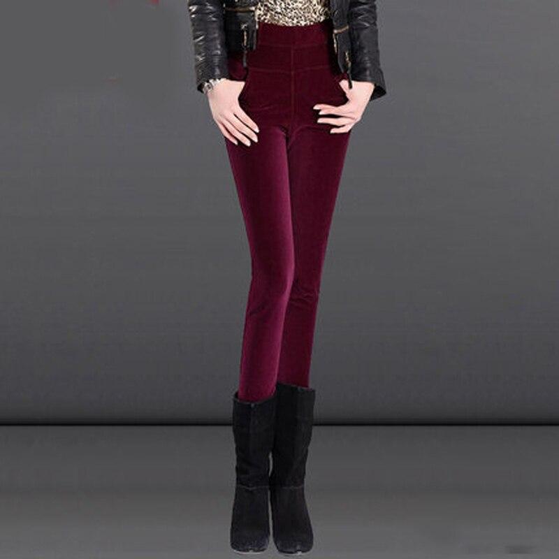Hiver plus velours femmes portant taille haute taille haute velours côtelé crayon pieds chaud coton pantalon