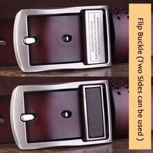 New Design – 100% Genuine Leather Men's Belt With Metal Flip Buckle